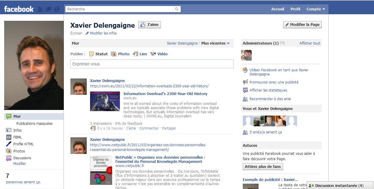 Ma Page Fan Facebook   Le Blog De Xavier DELENGAIGNE