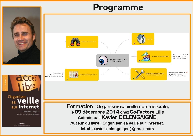 Flyer de la formation Organiser votre veille commerciale Co-factory Lille